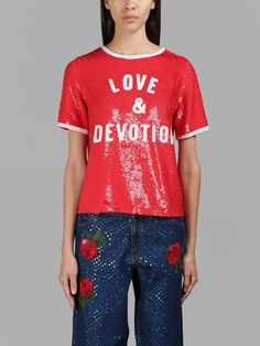 ASHISH ASHISH WOMEN'S RED LOVE&DEVOTION SEQUIN TOP. #ashish #cloth #tops