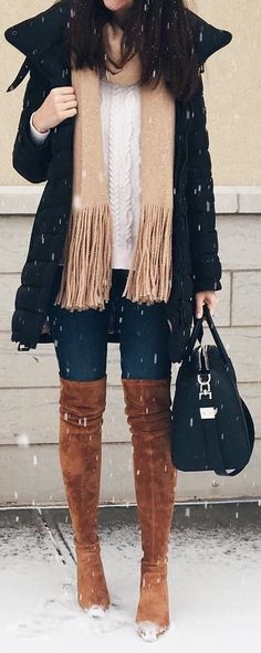 fall outfit ideas / camel OTK boots + black jacket