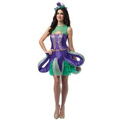 This cute new octopus costume features a purple octopus dress with a green ruffled underskirt and collar and a matching character headpiece. Duo Costumes, Mardi Gras Costumes, Animal Costumes, Super Hero Costumes, Disney Costumes, Costumes For Women, Female Costumes, Octopus Costume, Fish Costume