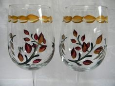 Hand painted wine glasses with Fall leaves by Morningglories1, $20.00