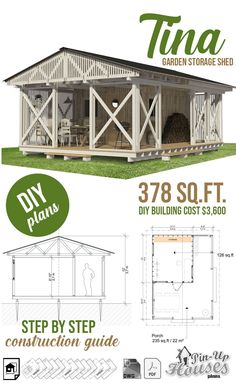 Garden Storage Shed Plans - Pin-Up Houses Building Costs, Building A Tiny House, Garden Storage Shed, Storage Shed Plans, Blueprint Construction, Shed Blueprints, Shed Design, House Plans, Backyard