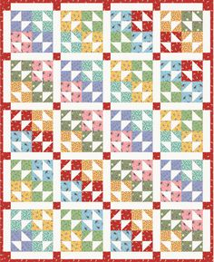 """Free Pattern - Color Wheel Quilt by Kimberly Jolly-Skill Level:Beginner Finished Size: 69"""" x 85.5"""" (175cm x 217cm)"""