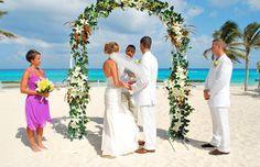 A wedding setup on a tropical beach