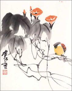 morning-glory-bird 2.jpg (470×599) Featured artist: #JanZaremba #brushpainting#sumie http://www.asianbrushpainter.com/blog/gallery/jan-zaremba/