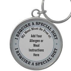 Customizable Allergen Meal Keychain