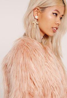 Missguided - Ornate Cross Earrings Gold