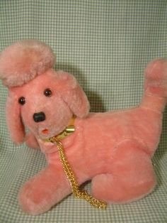 Vintage 1960s? Novelty Pink Poodle Dog Plush Transistor Radio - OMG I had this...you turned it on by the nose...LOL