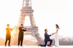 Paris surprise proposal: the most incredible Eiffel Tower proposal ever! Romantic Paris, Most Romantic, Sunrise Paris, Romantic Proposal, Surprise Proposal, Small Bouquet, Marriage Proposals, Beautiful Love, Backdrops