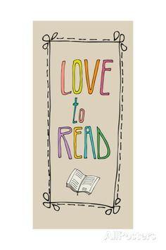 Background with Retro Colored Letters Love to Read Print by rebekka ivacson at AllPosters.com