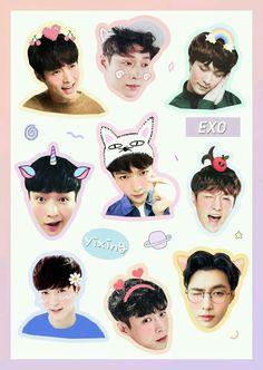 Exo Stickers, Printable Stickers, Cute Stickers, Sehun, Kpop Exo, Exo Lockscreen, Planner, K Pop, My Idol