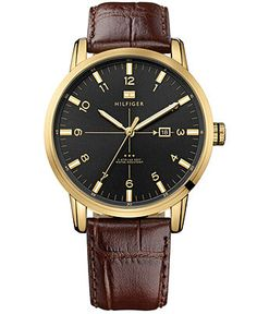 Tommy Hilfiger Watch, Men's Brown Croco-Embossed Leather Strap 44mm 1710329 - Men's Watches - Jewelry & Watches - Macy's
