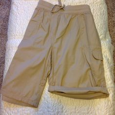 Brand New Beige Cargo Shorts Brand New Great Khaki Shorts.  Totally Versatile with the Ability to Select your Length with the Side Buttons to Cuff the Shorts WomanWithin Shorts Cargos