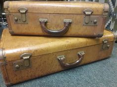 Monogrammed with initials. by SalvageAngelByTheSea on Etsy Leather Suitcase, Gold Letters, Suitcases, Vintage Leather, Initials, Monogram, Etsy, Suitcase, Monograms