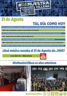 AL DÍA COMO HOY. 31 de Agosto. #DeMuestraVillena  www.muestravillena.villena.es www.facebook.com/Muestravillena @muestravillena