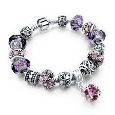 LongWay European Style Authentic Tibetan Silver Blue Crystal Charm Bracelet for Women Original DIY Beads Jewelry Christmas Gift