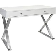 Worlds Away Jared White & Stainless Steel Desk ($1,963) ❤ liked on Polyvore featuring home, furniture, desks, tables, home decor, dorm, worlds away furniture, stainless furniture, storage desk and storage furniture