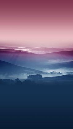 朝靄の風景 iPhone6 Plus 壁紙