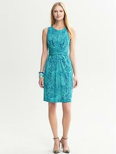 Issa Collection Blue Ceramic Printed Wrap-Tie Dress | Banana Republic