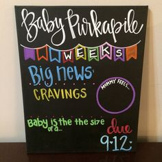 Weekly pregnancy Chalkboard / weeks pregnancy by SweetChalking