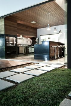 Modern Outdoor Kitchen Design Ideas - addney news Modern Landscape Design, Modern Landscaping, Modern Pergola, Landscaping Ideas, Outdoor Rooms, Outdoor Living, Outdoor Decor, Indoor Outdoor, Outdoor Sheds