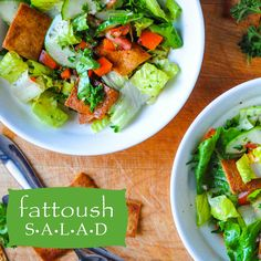 LEBANESE FATTOUSH SALAD! -- Fresh veggies, a lemon-sumac dressing and pita chip 'croutons'! A famous restaurant shares its recipe with us! Recipe link:  http://crumbsandtales.com/fattoush-salad/