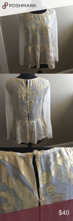 Ella Moss shear blouse w/peplum and buttoned back New Ella Moss sheer gold lame open back top. Size med. Reposhing, wrong size! Size med. Ella Moss Tops Blouses