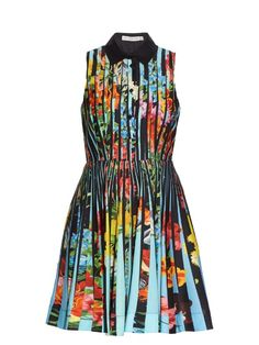 Mary Katrantzou's Resort 2016 collection is inspired by 1960s Op Art and its ability to trick the eye through depth of colour and pattern. This lightweight cotton Dew Techno dress is decorated with a tropical floral print that's spliced with sky-blue and black panels, giving the illusion of sharp pleats. Make it the focus of your evening look and style it with a classic black clutch.