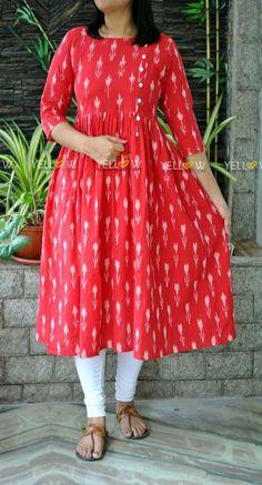 12 meter for this dress. 4 meter for jackets of same colour Long Dress Design, Dress Neck Designs, Designs For Dresses, Kalamkari Dresses, Ikkat Dresses, Churidar Designs, Kurta Designs Women, Simple Kurti Designs, New Kurti Designs