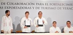 El gobernador Javier Duarte de Ochoa firmó un convenio de colaboración con el director del Banco Nacional de Comercio Exterior (Bancomext), Enrique de la Madrid Cordero, para el fortalecimiento de empresas exportadoras y de turismo de Veracruz.