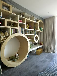 children's room in vaucluse house. I LOVE the fact that these are shelves that children are ALLOWED to climb in - mind you I love the whole house - would not say no to that house if it was given to me!!