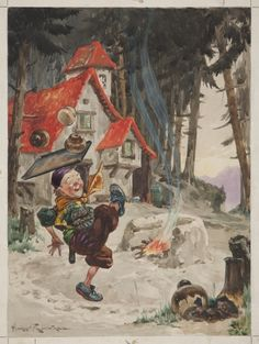 Rumpelstiltskin, Hopping on One Leg and Singing 'Today I Bake…' Artist: Harry Rowntree.  A book illustration on card, showing a scene from the famous fairytale