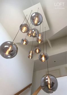 Modern Staircase bulbs lamptecho lighting loftinterieurs project in 2020 Stair Lighting, Foyer Lighting, Interior Lighting, Lighting Design, Stairwell Chandelier, Ceiling Light Fixtures, Ceiling Lights, Ideias Diy, Modern Staircase