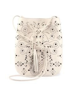 Jen Small Studded Leather Bucket Bag, White by Saint Laurent at Neiman Marcus.