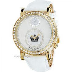 The Queen Couture watch by Juicy Couture is also available with a black strap or gold tone case. Queen Watch, Juicy Couture Watch, Oversized Watches, Beautiful Watches, Hair Designs, Girly Things, Michael Kors Watch, Bling, My Style