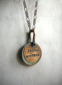 Dream Weaver Pendant  Copper and Turquoise Green by LaFreeBoheme