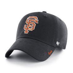 ced2199384a21 San Francisco Giants Women s 47 Brand Sparkle Black Clean Up Adjustable Hat  San Francisco Giants