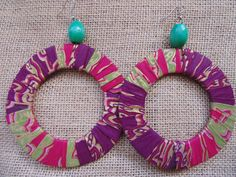 African Print Earrings-Purple Variation – Lillon Boutique