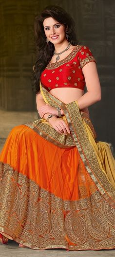 132673, Mehendi & Sangeet Lehenga, Net, Satin, Machine Embroidery, Sequence, Zari, Thread, Lace, Orange Color Family