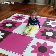 This beautiful SoftTiles Flower Play Mat is perfect for playrooms and nurseries. This is a 6.5' x 6.5' play mat with our sloped borders. The sloped borders help prevent tripping. This play mat can be used to create cushioned surfaces directly on top of hardwood floors.