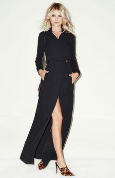 ♥ Cool long black dress.