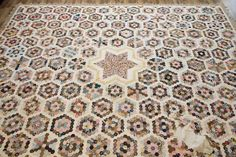 """late 1700s to 1820; 110"""" x 90""""; 1"""" hexagons; from an estate in Heber, Utah, English paper pieced, neeted lace edging; ebay seller: anirotzaeretz"""
