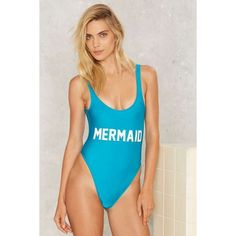 Private Party Mermaid Swimsuit ($99) ❤ liked on Polyvore featuring swimwear, one-piece swimsuits, blue, one piece swimsuit, blue swim suit, swim suits, one piece side cut out swimsuit and swim costume