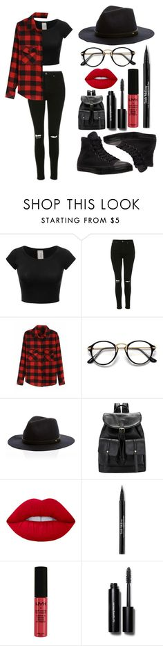 """Red and Black!!!"" by theanonymousme ❤ liked on Polyvore featuring Topshop, Trish McEvoy, NYX, Bobbi Brown Cosmetics and Converse"
