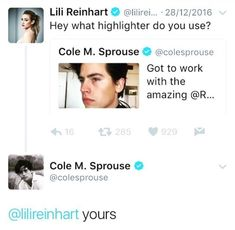 Riverdale ❤️ Lili Reinhart and Cole Sprouse ❤️ Traduction :Hey quel surligneur utilises-tu? le tiens