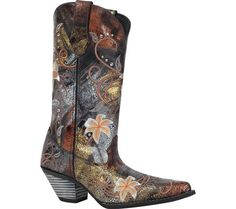 """Womens Durango Boot RD3030 12"""" Floral Bouquet - Distressed Black Metallic - FREE Shipping & Exchanges 