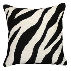 Zebra Needlepoint Pillow: solid cotton velveteen back and zipper closure. Specify Black, Natural, Orange, Green or Chocolate. Black And White Cushions, Black And White Interior, Needlepoint Pillows, Needlepoint Patterns, Welcome To My House, Colorful Animals, Upholstered Furniture, Linen Fabric, Decorative Pillows