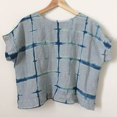Did some indigo dye projects recently- this one is a linen top I made a while back but didn't wear much because the color felt blah to me...I like it much better now! I did an accordion fold both ways and secured it between two pieces of wood with rubber bands- swipe for a pic hemlockteecutcutsew