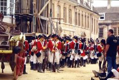A whole campful of soldiers, on location at Stamford during the filming of Pride and Prejudice (2005)