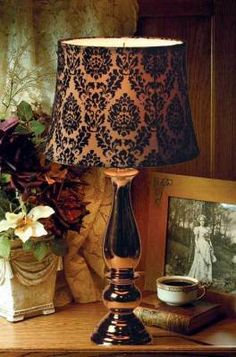 Damask lamp from Victorian Trading Company.(love this catalog) Victorian Trading Company, Stencil Decor, Reproduction Furniture, Studio Apartment Decorating, I Love Lamp, Victorian Homes, Lamp Shades, Damask, Office Decor