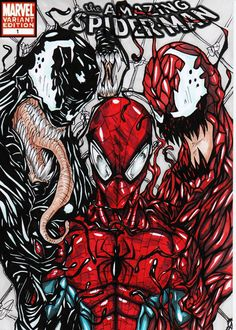 spiderman colour comic cover concept this cover is that spiderman venom and carnage team up to fight two new really strong symbiotes called mayhem and r. Marvel Comics, Marvel Comic Books, Marvel Vs, Comic Book Characters, Marvel Characters, Marvel Heroes, Marvel Villains, Spiderman Kunst, Spiderman Drawing